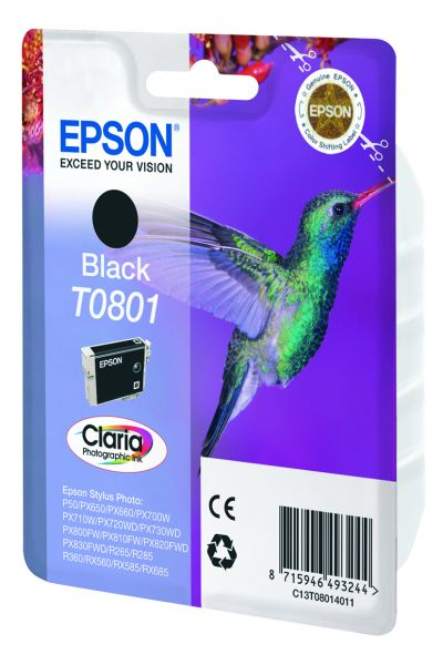 Epson Hummingbird Singlepack Black T0801 Claria Photographic Ink