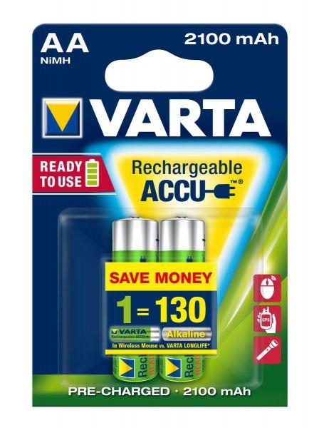 VARTA Rechargeable Akku AA Mignon 2er 2100mAh (Entladeschutz)